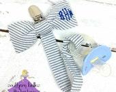 Personalized Baby Boy Gift, Seersucker Pacifier Clip, Monogrammed Seersucker Bow Tie Pacifier Clip with Diamond Font, Gift for Baby  Boy