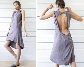 Vintage ash grey cotton jersey minimalist cut out open back sleeveless summer beach midi dress L