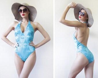 90s vintage turquoise sky blue low open back halter neck one piece swimsuit L