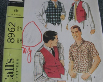 Vintage Mens Vest and shirt Sewing Pattern McCalls 8962 Mid Century Modern Look 1967