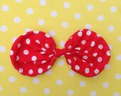 CLEARANCE Red & White Large Polka Dot Fabric Wired Bow headbands clips 5.25 in girl toddler girl disneyland minnie mouse style