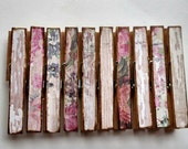 Shabby Rose Weathered wood themed decoupage clothespins set of 10