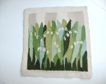 Vintage Swedish hand woven Flemish weave wall hanging with sweet Lily of the Valley