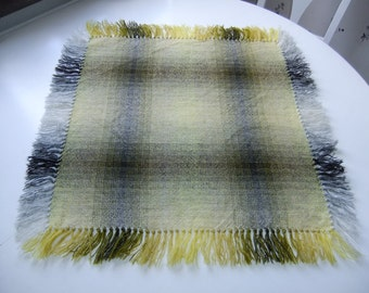 Vintage Swedish hand woven wool tablecloth with fringes - yellow and gray tones
