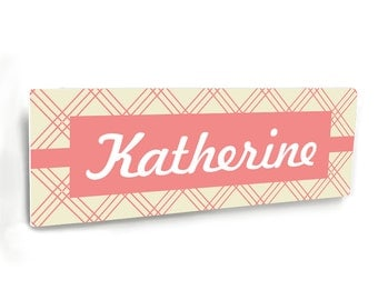 personalized baby girl nursery door sign, beige and coral pink, geometric lines - NM61