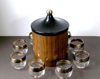 C 1960 Decoware ICE BUCKET Bar Ware Faux Woodgrain Metal Chrome Knob Mid Century Modern Mad Man Era Authentic Vintage Made In USA
