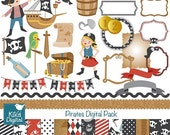 70% Sale Pirates Digital Clipart and Paper Pack - Scrapbooking , card design, invitations, stickers, paper crafts, web design - INSTANT DOWN