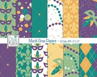 Mardi Gras Digital Papers, Mardi Gras Scrapbook Paper - Carnival Papers - Festive Background - Mardi Gras - INSTANT