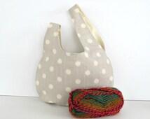 Japanese Knot Handbag Large Knitting Project Bag Grey Wristlet Purse Modern Polka Dots Tote Bag