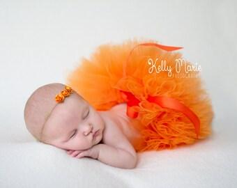 ORANGE TUTU and Tieback, Newborn Tutu, Baby Tutu, Orange Tutus, Newborn Photo Prop, Photo Prop, Tutus for Children, Tutu Set, Orange Tutu
