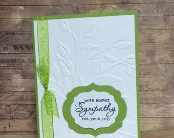 Thinking of you, Sympathy card, Handmade card, Greeting card, Embossed