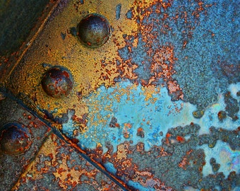 Bridge, Fine Art, Photography, Urban Decay, Industrial, Metal, Cyan and Wheat 8x12 Rust