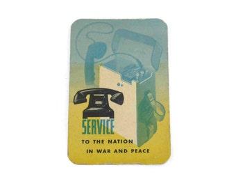 1946 Bell Telephone Advertising Calendar Card or Pocket Calendar Vintage