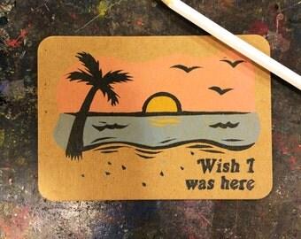 Linocut Postcard - Wish I Was Here