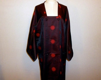 SUMMER SALE 30%off!! Vintage mitiyuki - Red polka dots, Iridescent black, Unlined