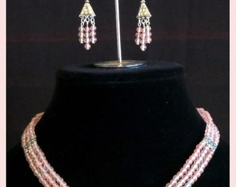 Jewelry Set: Necklace and matching Earrings. Triple strand.  Cherry Quartz. Pink and Silver. Handmade, One of a Kind, Affordable Jewelry.