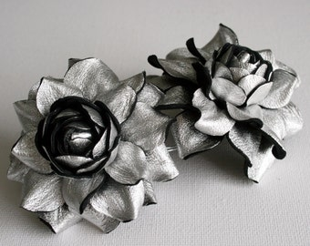 Silver Metallic  colored  Leather Rose Flower Shoe Clips