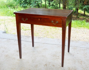 Antique Mahogany Federal Hepplewhite Rare Marquetry Server Chamber Table Signed Stand