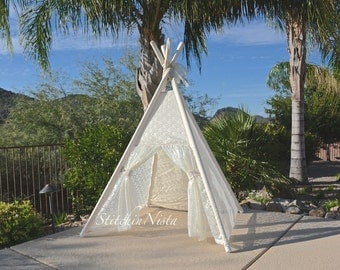 Lace Teepee -- Fort Tent Indoor Outdoor Play Photo Prop Tee Pee Playhouse (Made to Order)
