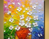 contemporary wall art,Palette Knife Painting,colorful Flower painting,wall decor ,Home Decor,Acrylic Textured Painting ON Canvas by Chen Q26