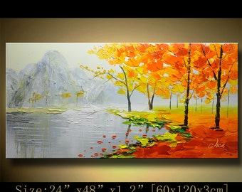 contemporary wall art, Palette Knife Painting,colorful tree painting,wall decor , Home Decor,Acrylic Textured Painting ON Canvas by Chen h29