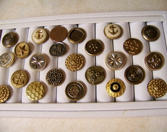 """Lot of 23 Vintage Gold Tone Metal Shank Buttons 3/4"""""""