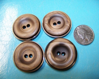 Set of 4 Vintage Big Thick Grayish Brown Buttons Satin Finish