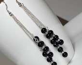 Black Pearl With Crystal Rondell Earring