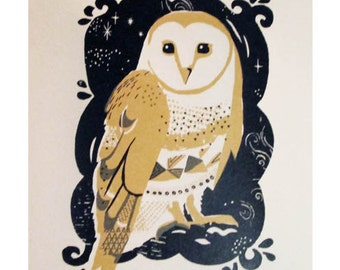 Barn owl Screen print