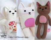 Make 3 Cats - Sewing Pattern & Tutorial  - easy, simple, kitten, cloth, fabric, plushie, softie, doll, stuffed, soft, toy, gift, craft, DIY