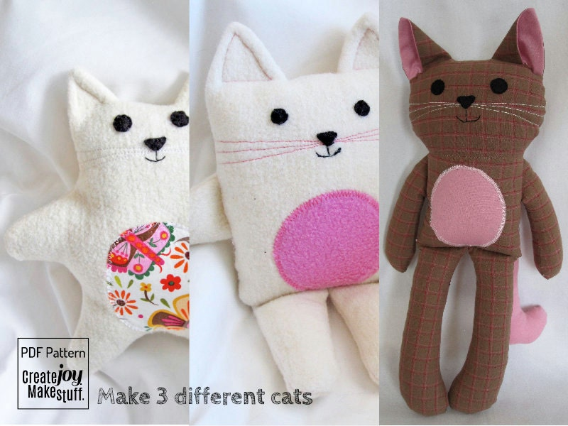 Make 3 cats sewing pattern tutorial easy simple - Cat clothing patterns free ...