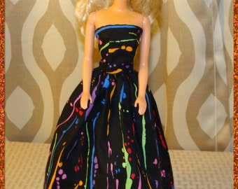 Handmade Barbie Doll Dress - Black cotton print with colorful splashes of color - Barbie Clothes
