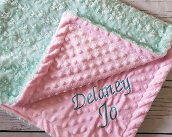 Baby Blanket Cotton Plush Fur Aqua Pink Minky backing Carseat Blanket Crib Blanket Minky Blanket