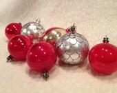 Seven Vintage Christmas Ornaments Marked Poland
