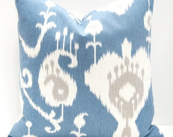 Blue Pillows -Blue Gray Pillow Decorative Throw Pillow  Covers 18x18 light blue pillow Blue Pillow cover  Printed fabric both sides