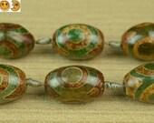 Sale---10 pcs of Tibetan Agate dZi three eyes pattern barrel beads 20-22x27-30mm