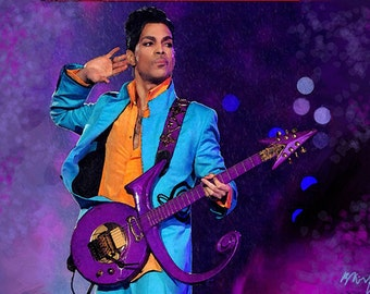 """PRINCE Singer Musician Portrait Modern Abstract Painting on Giclee Canvas 16""""x20"""" with mat frame. Impressionistic art"""