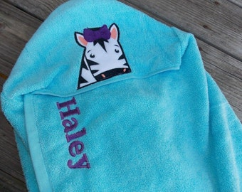 Zebra Personalized Hooded Towel, Jungle Birthday GIft, Zebra Towel, Kids Hooded Towel, Personalized Birthday Gift, Jungle Bathroom Decor