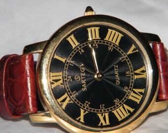 Mens Sartego Gold Tone Quartz Roman Numeral Dial Watch