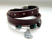 Upcycled Studded Red Brown Natural Red Leather Jeans Blue Dark Purple Ceramic Beads Ship Charm Wrap Bracelet - Inspired by Black Sails