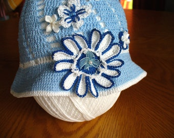Children's Crochet Hat in Light Blue and White with Flowers