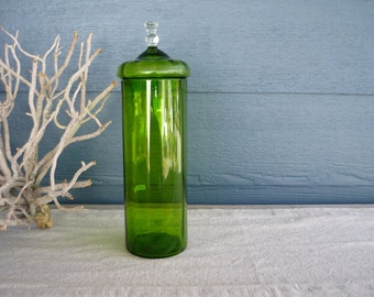 Vintage Glass Candy Jar, Green Jar with Lid, Holiday Decor