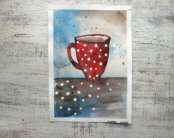 Original watercolor painting red tea cup painting 8x12' kitchen decor nursery decor red coffee mug white polka dot nursery art