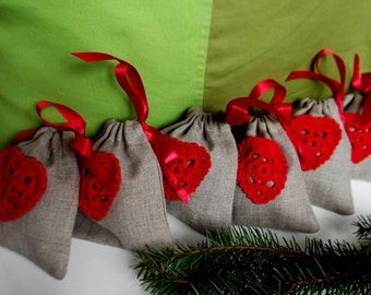 Small linen gifts bags set of 6  weddding favor money bags children candy bags gray linen red heart