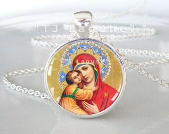 Mother of Jesus Christ Icon Pendant, Theotokos, Glass Religious Pendant Necklace