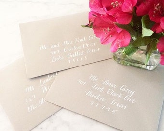 Wedding Calligraphy Envelope Addressing, Hand lettered Font, Contemporary Clean Calligraphy by Professional Calligrapher