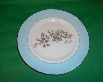 """One (1), 8 1/2"""" Bone China, Salad Plate, from Crown Staffordshire, in the Gray Blossoms Pattern."""
