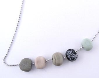 Ball chain beach pebble necklace  - lampwork glass beads - boho beads