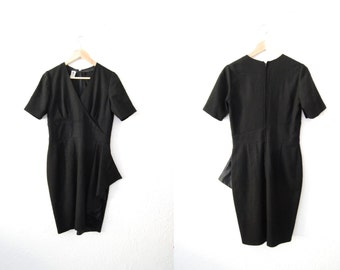 Vintage 80s Emanuel Ungaro Black Ruffle Fitted Dress Asymetrical Wrap Look