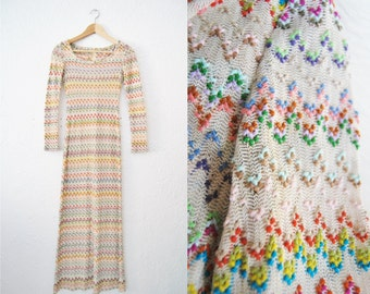 Vintage 70s Weaved Cream Colorful Stretchy Maxi Long Dress Bohemian Boho Hippie / Womens Clothing / Fitted / Gown
